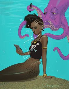 Merbraid by john-paul balmet Black Girl Art, Black Women Art, Black Girl Magic, Art Girl, Black Mermaid, The Little Mermaid, Mermaids And Mermen, Fantasy Mermaids, Black Artwork