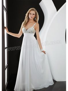 Straps Backless Chiffon Draping White Evening Gowns