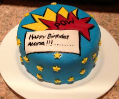 Comic strip style small birthday cake