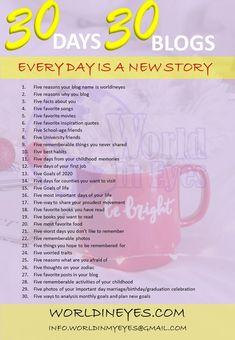 30 days 30 blog challenge for Lifestyle Bloggers First Job, Blog Names, Graduation Celebration, Social Media Channels, Strong Relationship, News Stories, Blogging, Glow, Challenge
