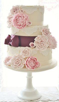 Floral Blooms Wedding Cake