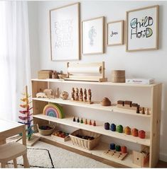 Beautiful Montessori playroom / workspace at home. Beautiful Montessori playroom / workspace at home Playroom Montessori, Waldorf Playroom, Waldorf Toys, Toy Rooms, Kid Spaces, Room Inspiration, Spiritual Inspiration, Inspiration Quotes, Writing Inspiration