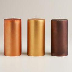 Large Matte Metallic Pillar Candles >> #WorldMarket Thanksgiving Entertaining #Holiday