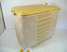 Vintage Spring Yellow & Ivory Wicker Wooden by DivineOrders