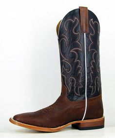 Love this Black Flame Square Toe Leather Cowboy Boot by Anderson Bean on #zulily! #zulilyfinds