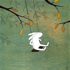 Something is in the Air - by Kris Blues -- (bunny in swing, autumn leaves, art, illustrations) Rabbit Art, Bunny Art, Tim Walker, Cute Illustration, Illustration Children, Art Illustrations, Pretty Pictures, Fine Art Paper, Illustrators