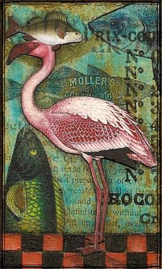 Flamingo and fish print Collages, Collage Art, Flamingo Art, Pink Flamingos, Pretty Birds, Pretty In Pink, Bird Quilt, Pink Bird, Mail Art