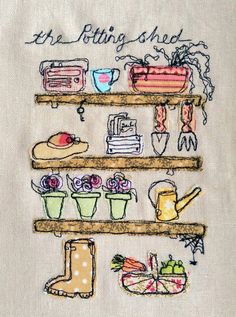 Machine Embroidery Ideas Handmade Potting Shed Embroidered Picture. Ideal by LillyBlossom - Freehand Machine Embroidery, Free Motion Embroidery, Learn Embroidery, Machine Embroidery Patterns, Vintage Embroidery, Embroidery Applique, Embroidery Stitches, Embroidery Ideas, Applique Ideas