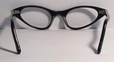 0a1dfc1adf5f Vintage eyewear. Cat eye style. 1960s. Soft grey with rhinestones on frame  front