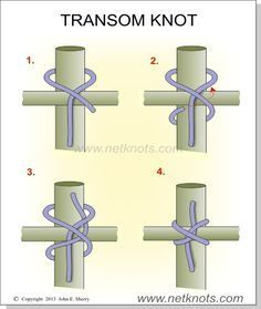 Transom Knot Lashing knot to ideas Animated Camping knots explained illustrated Knot Lashing Transom Paracord Knots, Rope Knots, Macrame Knots, Tie The Knots, Bushcraft Camping, Camping Survival, Emergency Preparedness, Diy Camping, Camping Ideas