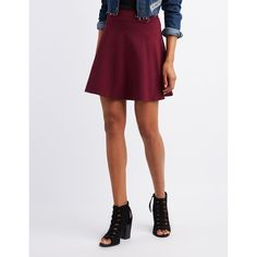 Charlotte Russe Ponte Knit Skater Skirt ($15) ❤ liked on Polyvore featuring skirts, burgundy, flared skirts, circle skirt, skater skirt, high waisted flare skirt and high-waisted skater skirts