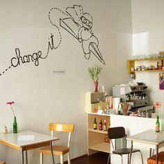 draw something on the wall in a kid's room! quote from a kid's poem or book.then add a little illustration! Small Bakery, Kids Poems, Paper Plane, Diy For Kids, Interior, Wall, Coffee Shops, Austria, Restaurants