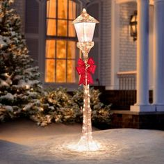 Bring to mind Christmases of yore with a 5 Ft. Golden Lamppost Lighted Outdoor Christmas Decoration. This lovely sparkling lamppost is illuminated with 100 incandescent mini-lights to provide a holiday sparkle. The old-fashioned style lamppost will light the way to your home this holiday season.