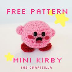 The Craftzilla: Free Mini Kirby Amigurumi Crochet Pattern Pokemon Crochet Pattern, Crochet Keychain Pattern, Crotchet Patterns, Crochet Patterns Amigurumi, Crochet Blanket Patterns, Crochet Stitches, Softie Pattern, Scarf Patterns, Crochet Animal Patterns