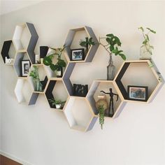 Decorate your home with these stunning modern Nordic hexagonal box shelves! Made from eco-friendly pine wood. Measures approximately 7 x 8 x Sold individually. Free Worldwide Shipping & Money-Back Guarantee 774548835898766107 Honeycomb Shelves, Hexagon Shelves, Living Room Decor, Bedroom Decor, Modern Bedroom, Bedroom Wall, Bedroom Bookshelf, Bedroom Ideas, Stylish Bedroom
