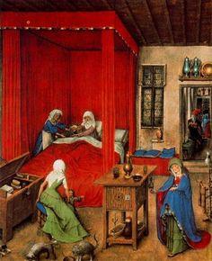 """""""la naissance des r john le baptiste"""", huile de Jan Van Eyck (1395-1441, Netherlands)"""