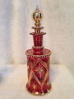 """Vintage Large Hand Blown & Hand Painted Egyptian Perfume Glass Bottle RED 10"""""""
