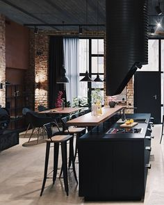 45 best kitchen interior design remodel ideas for your new year 41 Loft Interior, Black Interior Design, Interior Design Living Room, Interior Architecture, Design Loft, Küchen Design, Design Ideas, Design Inspiration, Industrial Kitchen Design