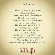 I agree with most But have to be back up hitters, def not gumps. Or your lineup is pointless once you get past And I can say this bc I was the majority of my career. No Crying In Baseball, Baseball Boys, Baseball Party, Baseball Season, Baseball Stuff, Baseball Sayings, Baseball Dugout, Travel Baseball, Baseball Crafts