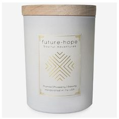 Future & Hope Candle  By: Ethics Supply Company  $ 36.00 Aromatherapy Candles, Future, Desserts, Gifts, Food, Tailgate Desserts, Future Tense, Deserts, Essen