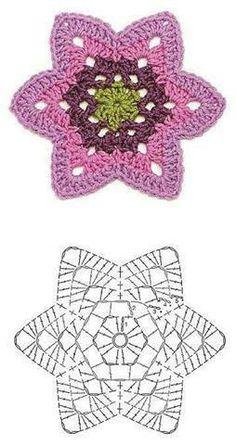 Transcendent Crochet a Solid Granny Square Ideas. Inconceivable Crochet a Solid Granny Square Ideas. Crochet Diy, Crochet Doily Diagram, Crochet Motifs, Crochet Flower Patterns, Crochet Crafts, Crochet Flowers, Crochet Stitches, Crochet Projects, Crochet Doilies