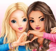 Candy & Hayden ( Lara et Mya ) Best Friend Drawings, Girl Drawing Sketches, Cute Girl Drawing, Girly Drawings, Cartoon Drawings, Best Friend Pictures, Bff Pictures, Friend Photos, Bff Images