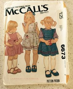 VINTAGE MCCALLS 6673 PATTERN 1970s Chidrens Jumper or Sundress Blouse and Toy Mouse by HomeNestCO on Etsy