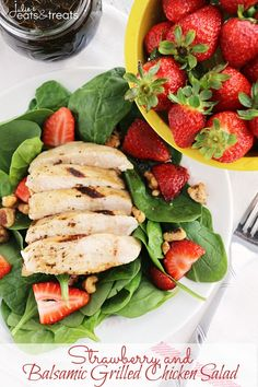 Strawberry and Balsamic Grilled Chicken Salad ~ Fresh, Flavorful Salad Recipe Loaded with Spinach, Strawberries and Chicken Marinated in Balsamic Dressing! #TasteGoodDoGood #ad