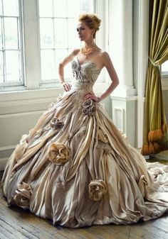 full champagne ball gown / strapless / roses / fairy tale