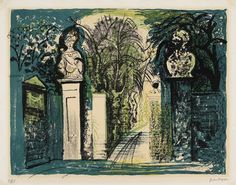 'Petworth Park Gate' (1958) by English painter & printmaker John Piper (1903-1992). Lithograph, edition of 75, 43 x 56 cm. via Bebb fine Art