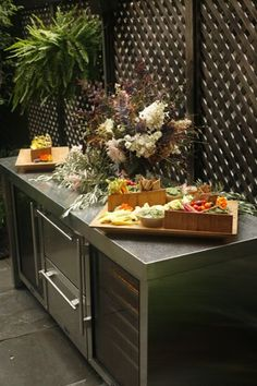 outdoor wine fridge, garden party snacks