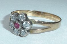 Antique Georgian Victorian14K Gold and Sterling Silver Ruby Paste Ring Size 7.5