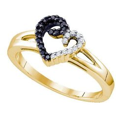 Sterling Silver 0.17CTW DIAMOND MICRO PAVE HEART RING: Rings