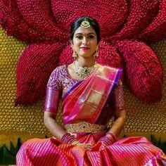 Indian Bridal Sarees, Wedding Silk Saree, Indian Bridal Fashion, Indian Wedding Outfits, Indian Saris, Indian Outfits, Wedding Saree Blouse Designs, Pattu Saree Blouse Designs, Blouse Back Neck Designs