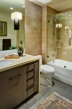 Contemporary Full Bathroom with Subway Tile, Flush, Floor And Decor Lapatto Sand Beige Porcelain Tile, frameless showerdoor. This color scheme could work too.