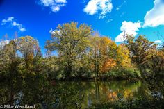 Blue sky, white clouds, a pond just beckon you to sit and stay for a while, being still and breathing the beauty in