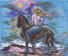 Siren's Wild Pony Sunset  23 x 18.5 inches  on gallery wrap canvas with finished painted edges, ready to hang  by Dawn Tarr DAWN TARR ART