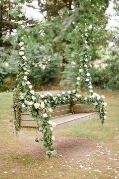 rustic hanging flower swing wedding decor / http://www.deerpearlflowers.com/perfect-ideas-for-a-rustic-wedding/2/