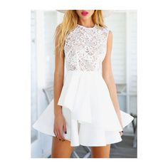 Rotita White Lace Patchwork Round Layered A Line Dress ($29) ❤ liked on Polyvore featuring dresses, white, mini dress, white sleeveless dress, white sleeve dress, lace-sleeve dress and a line mini dress