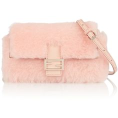 Fendi Baguette micro leather-trimmed shearling shoulder bag (€1.130) ❤ liked on Polyvore featuring bags, handbags, shoulder bags, pink tote bag, shoulder bag tote, fendi tote, fendi crossbody and pink handbags