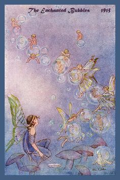 The Enchanting Bubbles by Hilda Miller from 1915. Quilt Block of vintage fairy image printed on cotton. Ready to sew.  Single 4x6 block $4.95. Set of 4 blocks with pattern $17.95.