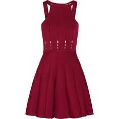 Cushnie et Ochs - Cutout Stretch-knit Mini Dress ($478) ❤ liked on Polyvore featuring dresses, claret, short cut out dresses, red graduation dresses, short red dress, short ruffle dress and red cut-out dresses