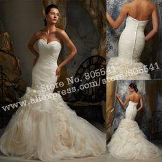 Gorgeous Ruffle Mermaid Sweetheart Organza Ruched Wedding Dress Wedding Gown WD-5104