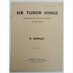 Six Tudor Songs transposed from lute tablature Sheet Music Book Guitar. Charity sale on eBid United Kingdom ~ NOW SOLD