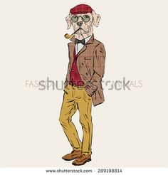 fashion animal illustration, anthropomorphic design, furry art, hand drawn illustration of Labrador dressed up in retro style