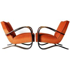 Pair of H269 Kreslá by Jindrich Halabala | From a unique collection of antique and modern club chairs at https://www.1stdibs.com/furniture/seating/club-chairs/