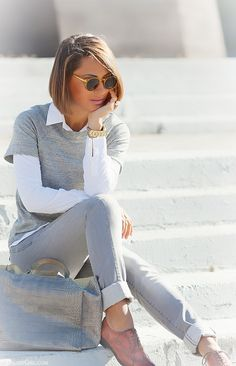 grey jeans outfit by GalantGirl.com