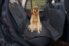 Okeyn Pet Seat Cover Deluxe Waterproof Dog Car Seat Protector with Seat Anchors for Cars Trucks SUVs (Black) -- Unbelievable dog item right here! : Dog Carriers and Travel Products Best Car Seats, Dog Car Seats, Large Dog Crate, Large Dogs, Indoor Dog Gates, Insulated Dog House, Dog Barrier, Dog House For Sale, Wire Dog Crates
