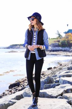 @jbrand mid rise skinny jeans, @yosisamra Devin Studded Ankle Boots, @solesociety wide brim hat and @loren Carson Choker Necklace, stripes and denim shirt, fall layering