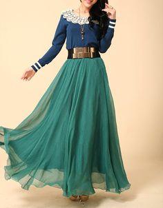 Chiffon Maxi Skirt-Spring Long Skirt Maxi Dress Silk Skirt Summer Beach Skirt In Jade green-WH097 105cm
